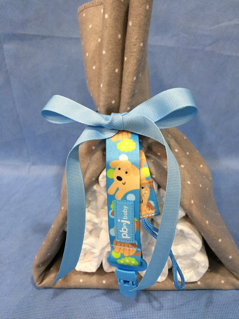 Sale Mini Gray Stork Bundle with Blanket /& Pacifier Holder Gender Neutral Baby Gift Gift Wrapped! Affordable Small Box Shipping