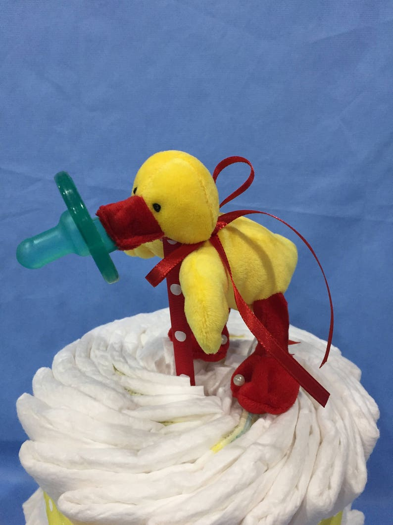 Gift Wrapped! Sale Yellow Duck Wubba Nub Diaper Cake Gender Neutral 2 Tier Baby Gift or Shower Centerpiece 10/% Off