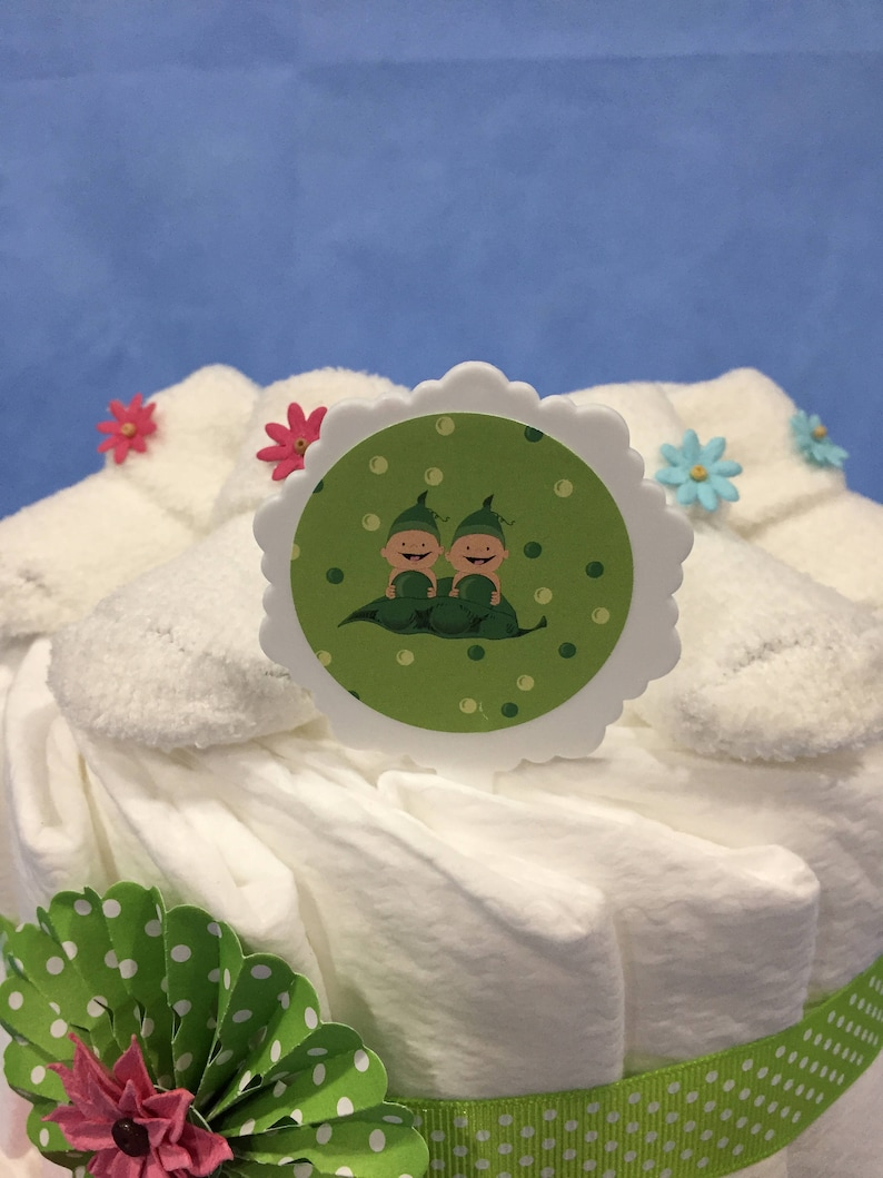 Gift Wrapped! Made with 2 Pair of Booties 2 Pair of Sock Roses /& 50 Diapers Twins Two Peas in a Pod 2 Tier Diaper Cake for Boy and Girl