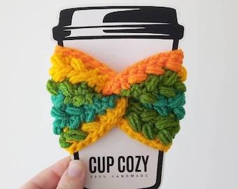 CROCHET CUP COZY, crocheted cup cozy, cup cozy, handmade cup cozy