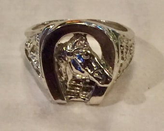 Custom Made Sterling Silver Horse Shoe Ring