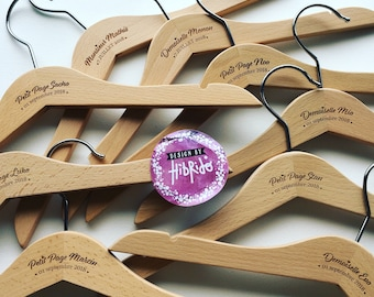 Wooden hanger child personalized birth / Baptism - wood engraving