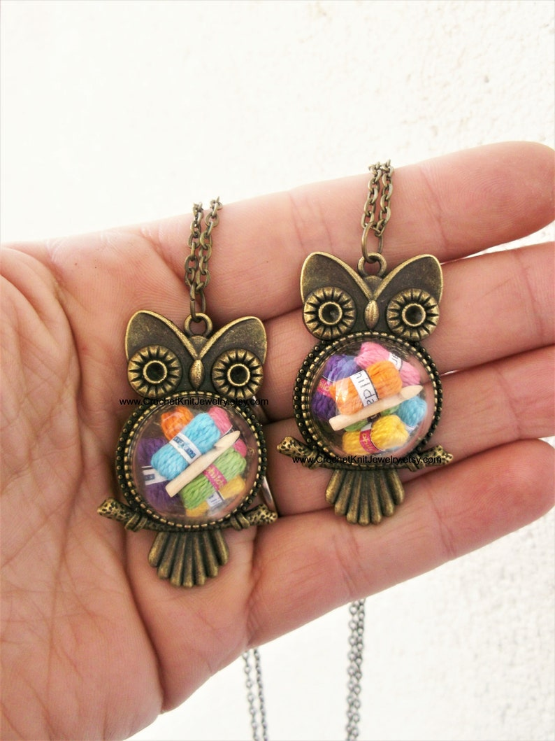 owl crochet necklace jewelry gift for crocheter image 0