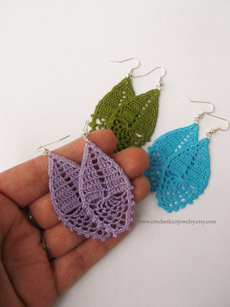 crochet earrings pattern drop earrings romantic wedding image 0