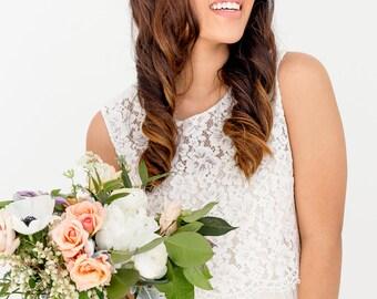 Bridesmaid Lace Scoop Neck Crop Top - Millie - IN STOCK