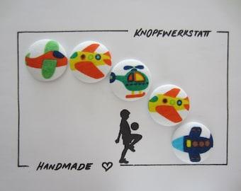 5 fabric buttons 28 mm, buttons,children's buttons,buttons,buttons,fabric button,fabric buttons,buttons,buttons,sewing button,craft button,airplanes,plane