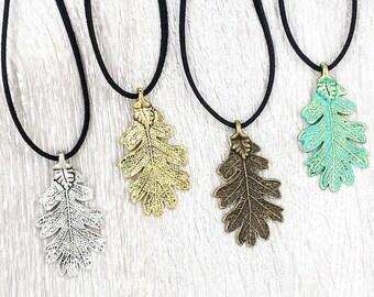 Czech Glass Beads Oak Leaf Necklace Nature Charm Necklace Brown Enameled Oak Leaf Pendant Artisan Lampwork Colorful Leaf Necklace