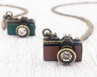 Camera Necklace, Mini Camera Pendant Necklace, Picture Photo Photographer Miniature, Vintage Retro Style, Gift for Her Gift for Him