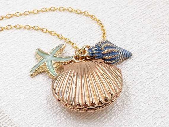 Retro Sea Shell Lockets Necklace Mermaid Valentine Necklaces with May Birthstone Crystal