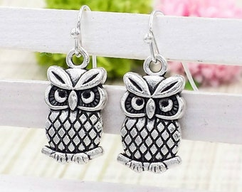 Owl Earrings, Cute Silver Owl Earrings, Woodland Owl Mark of Athena Percy Jackson Annabeth Chase Itty Owl Inspired, Gift for Her