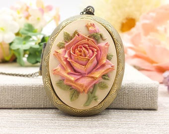Rose Cameo Locket Necklace, Golden Hand Painted Dusty Pink Large Floral Oval Photo Locket Necklace, Victorian Edwardian Style, Gift for Her