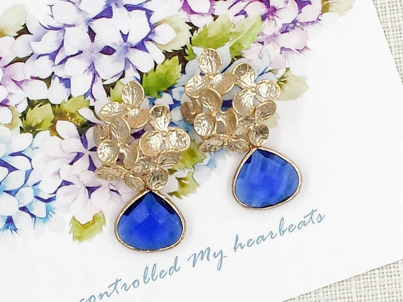 Royal Blue and Gold Earrings Gold Flowe Sapphire Blue Drop Post Earrings Cobalt Blue Earrings Wedding Bridal Bridesmaids Gift for Her