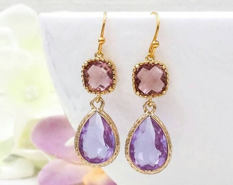 Purple Earrings, Lavender Teardrop Drop and Dangle Earrings, Lilac Purple Violet Earrings, Wedding Bridal Bridesmaid Mom Wife Gift for Her