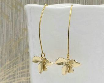 Gold Orchid Long Dangle Earrings, 14K Gold Orchid Flower Drop and Dangle Earrings, Wedding Party Bridal Bridesmaid Mom Gift For Her