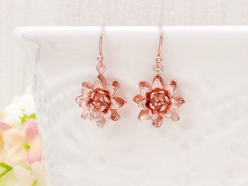 Lotus Flower Earrings Rose Gold Lotus Earrings Water Lily Etsy