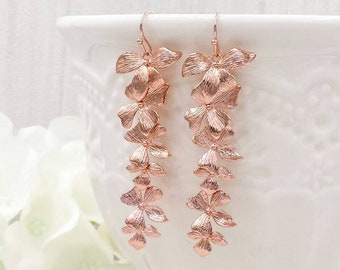 Rose Gold Orchids Earrings, Rose Gold Cascading Orchids Flowers Long Dangle Earrings, Wedding Jewelry, Bridal Bridesmaid Gift For Her
