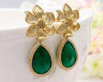 Gold Flower Emerald Erinite Green Teardrop Dangle Earrings, Matte Gold Flower Post Back Earrings, Wedding Bridal Bridesmaid Mom Gift for Her
