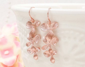 Rose Gold Orchids Earrings, Rose Gold Cascading Orchid Flower Dangle Earrings, Wedding Jewelry Bridal Bridesmaid Gift For Her
