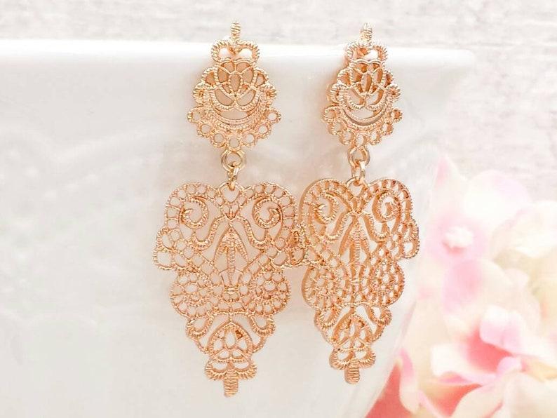 df213302f07c Gold Filigree Earrings Large Gold Lace Dangle Earrings