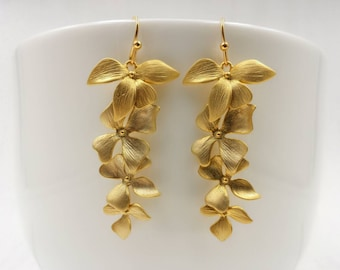 Gold Orchid Earrings, Matte Gold Casanding Orchids Flowers Drop and Dangle Earrings, Wedding Jewelry, Bridal Bridesmaid Gift For Her