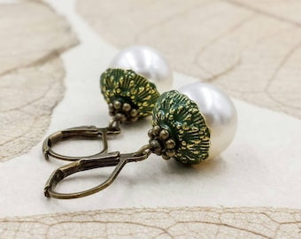 Acorn Earrings, White Cream  Pearl Acorn Earrings, Verdigris Patina Acorn Jewelry, Rustic Woodland Oak Treasure, Wedding Gift for Her