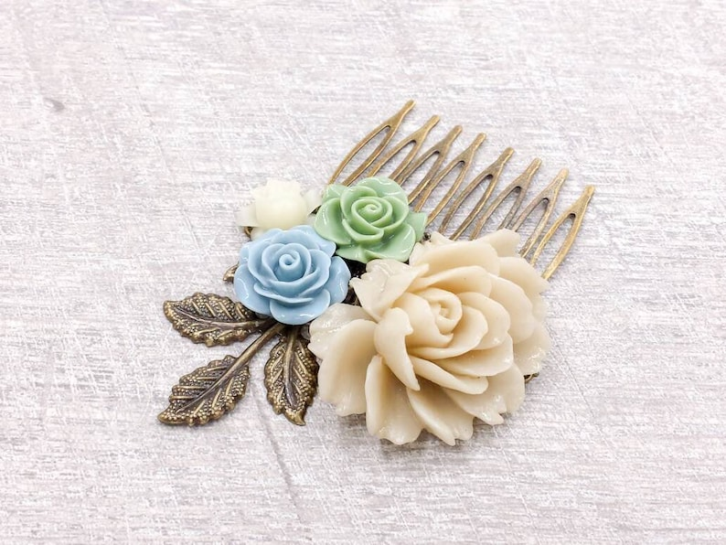 Ivory Rose Bridal Comb Sage Green Baby Blue Cream White Floral Collage Comb Vintage Style Rustic Country Wedding Farmhouse Bontanical Flower