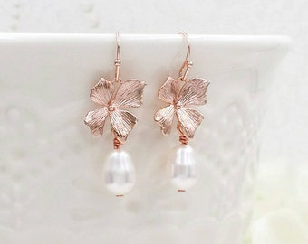 Rose Gold Orchid Earrings, Rose Gold Flower Cream White Pearl Earrings, Wedding Jewelry Bridal Bridesmaid Gift For Her