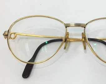93b62c3f578 Vintage Authentic Cartier 18K Gold Plate   Sapphire Eyeglasses Frames