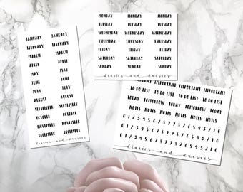 Bullet Journal label stickers for A5 or A6