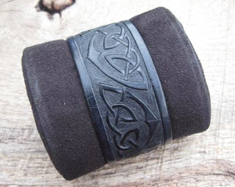 Mens Leather Cuff Bracelet Hand Tooled with a Celtic knotwork design, custom made to order. Free shipping. Valentines.