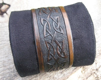 Mens Leather Cuff Bracelet with Hand Tooled Celtic Knotwork design custom made to order. Free shipping.