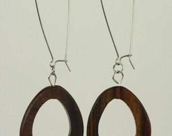 RR#83 - Minimal Wood Loops, Long Drop Earrings