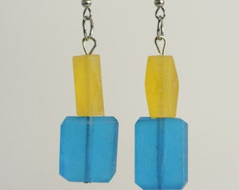 RR#24 - Vibrant Blue and Lemon Resin Earrings
