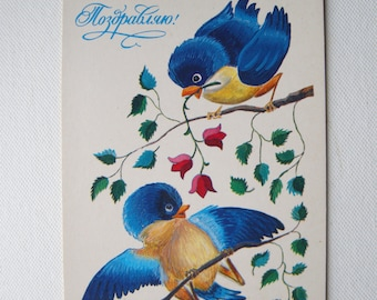 Congratulation! birds vintage postcard Unused postcard Blue birds illustcaration Greeting card Animal picture drawings by Manilova