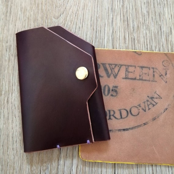 Colour 8.Brass Press Stud Customise yours! Luxury edc HORWEEN Shell Cordovan Slim Minamalist Leather CARD Holder