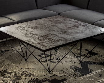 Coffee table, modern coffee table, Industrial coffee table, Quartz table top coffee table, square coffee table, stone