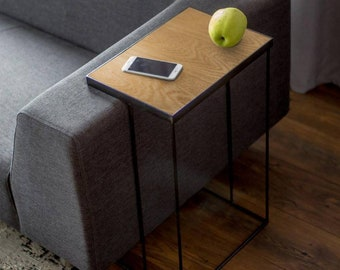 Oak Side Table / Sofa Side Table / Laptop Table / Modern Side Table / Living Room Side Table