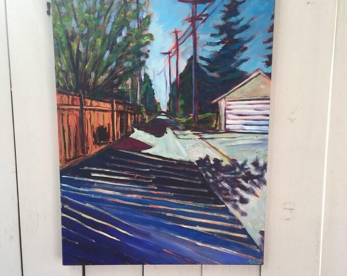 18x24 inch Original Acrylic Alberta Canada back alley streetscape landscape on canvas - 'going backwards'