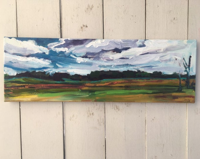 8x24 inch Original Acrylic Alberta Canada Prairie Field Landscape - 'where will we go'