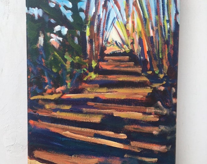 9x12 inch Original Acrylic Off leash Nature Trail Tree Landscape Painting on canvas - 'we took the time we needed'