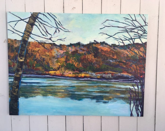 30x40 inches / Original Landscape Painting on Canvas / Edmonton River valley / North SaskatchewanRiver - 'reflections with you'