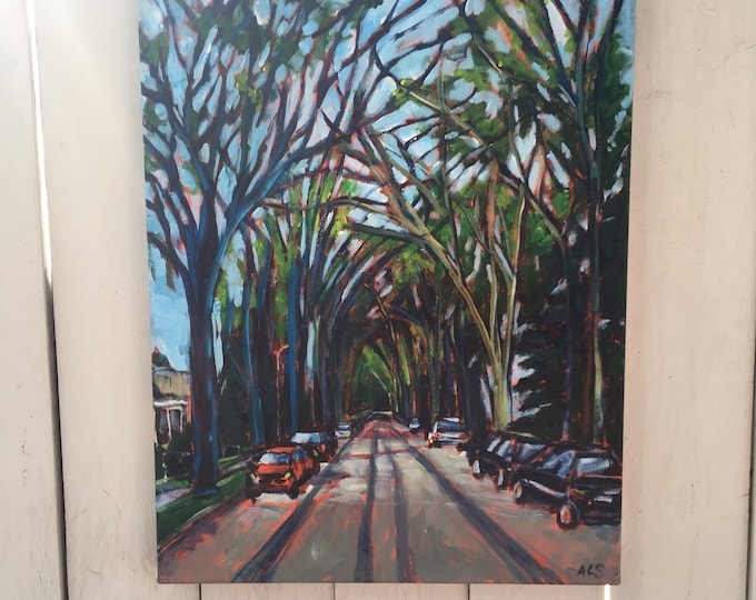 18x24 inch Original Acrylic Edmonton Community series streetscape landscape painting on canvas - 'growing together'