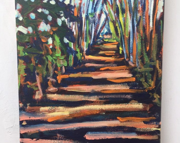 9x12 inch Original Acrylic Tree Trail Off leash Landscape Painting on canvas -  'hold me close'