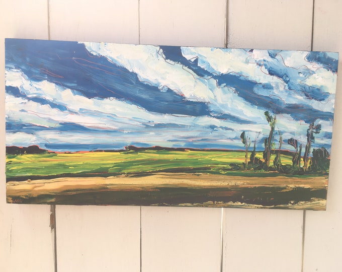 10x20 inch Original Field Landscape Painting on birch - 'ride it out'