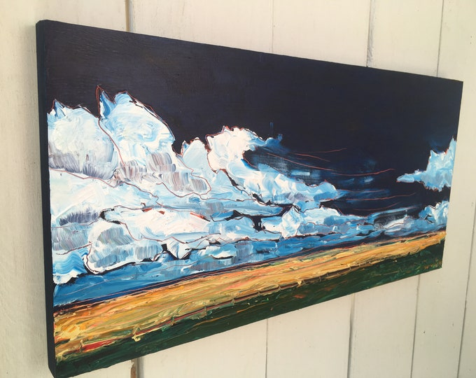 10x20 inch Original Acrylic Landscape Painting on birch (ready to hang) - 'Let's rock and roll'