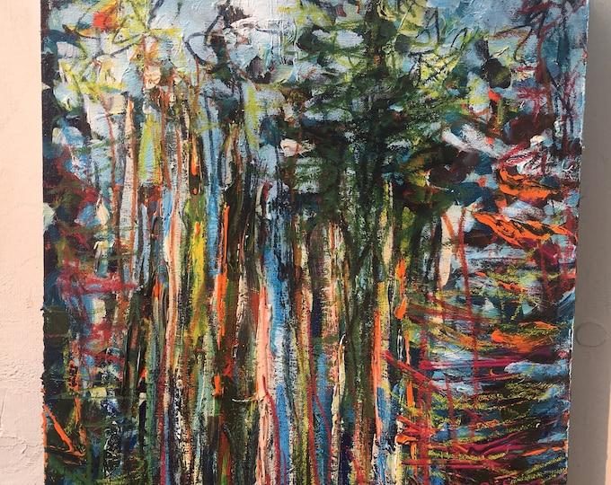 8x10 inch Original Acrylic Tree Landscape // Jasper, Alberta, Canada // 'alive and well in Jasper'