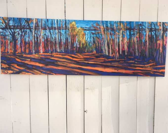 SALE - 16x48 inch (1-5/8 deep sides) Original Acrylic Edmonton Alberta River Valley Tree lined Landscape on Canvas - 'where the heart travel