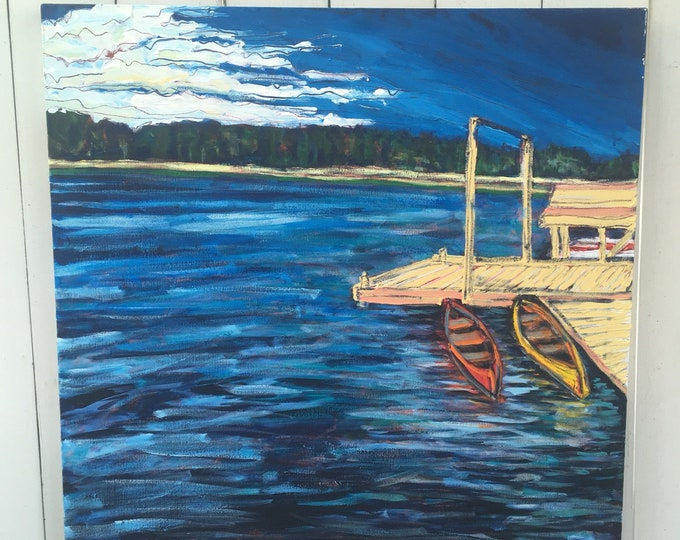 SALE - 30x30 inch Original Acrylic Canada Lake landscape on canvas //pier // canoe // trees - 'right beside you'