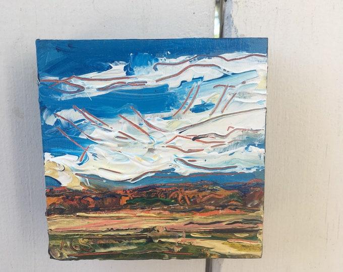 4x4 inch Original Acrylic Alberta Canada Prairie Landscape painting in birch - 'drift away'