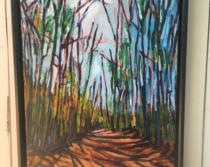12x16inch Acrylic Canada Tree  Nature Trail Landscape Painting on canvas - 'looking for time'